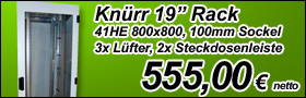 """Knürr 19"""" Rack 41HE 800x800 inkl. Lüfter, Sockel und Steckdosenleisten für nur 555,00 netto"""